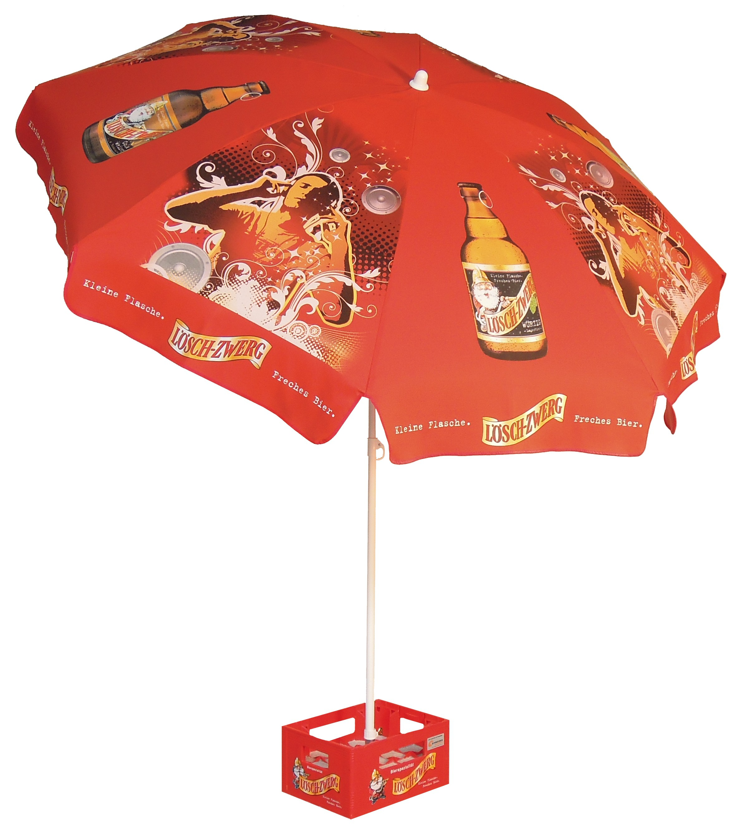 Schirm Loeschzwerg im Bierkastenstaender.jpg