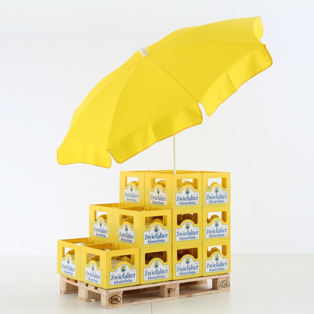 Bierkastenstaender Palette mit Schirm.jpg