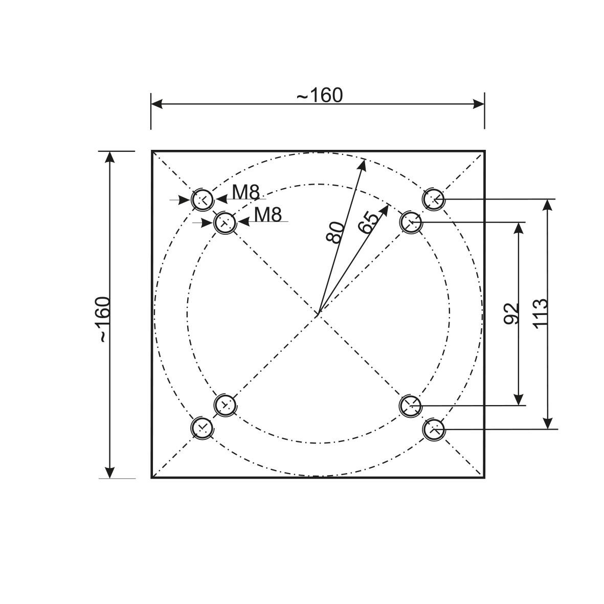 Universal Bodenplatte  Bodenanker Bohrbild