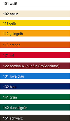 Farben Werbeschirme